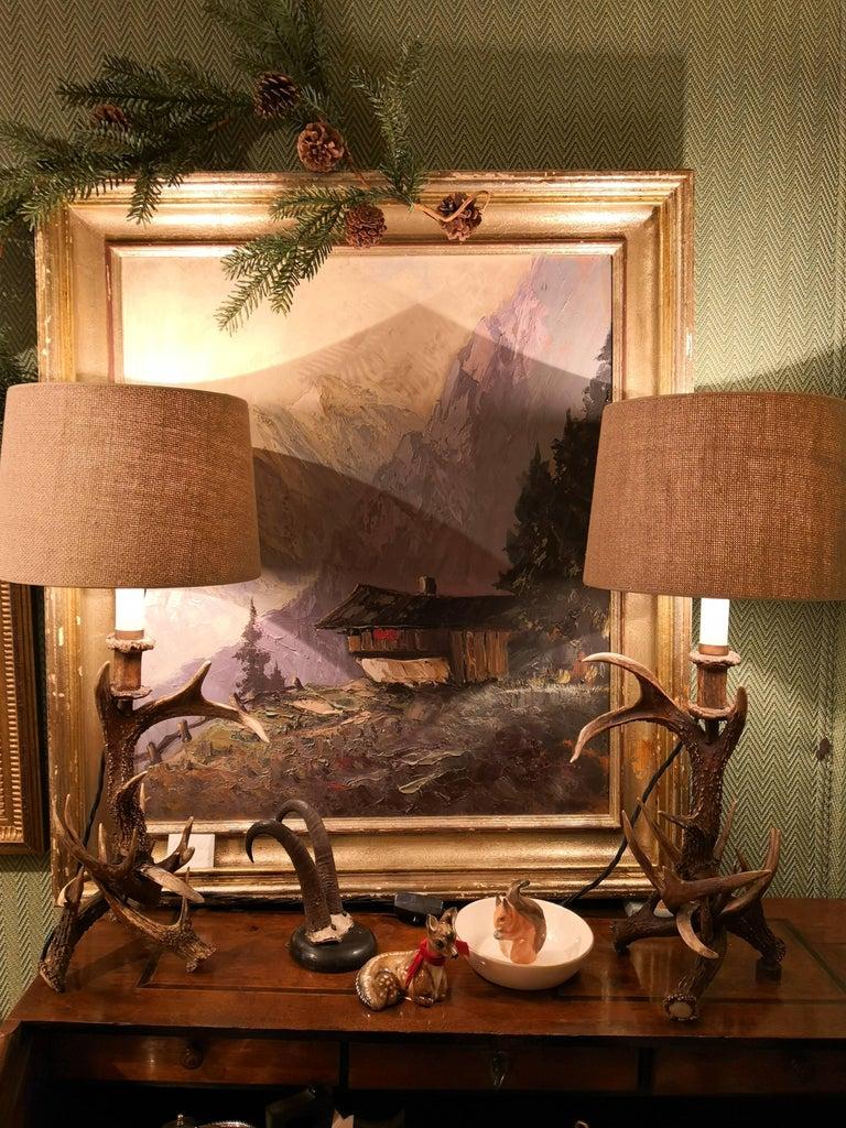 19. Jahrhundert Schwarzwald Paar Tischlampen mit Geweih Deutschland 9