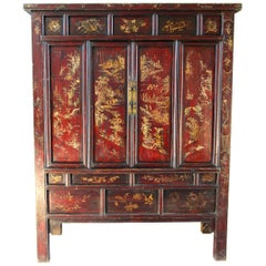 19th Century Chinese Cabinet Shanxi Province Red Lacquer and Gold
