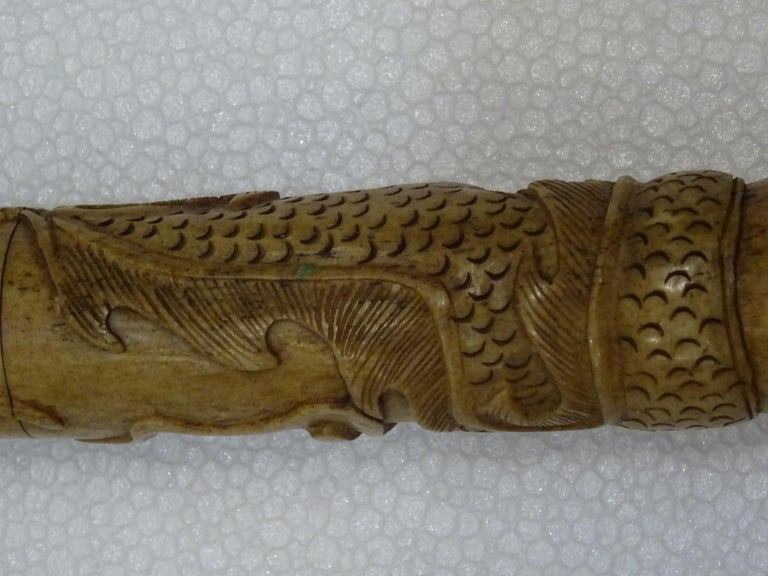 19th Century Chinese Carved Bone and Horsehair Brush For Sale 11