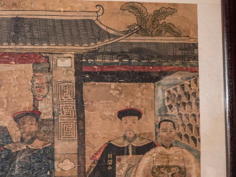 Painted 19th Century Chinese Guan, Xu Drawing on Paper,