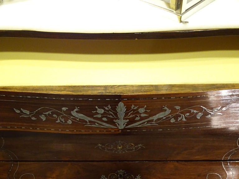 19th Century Dark Wood and Silver Inlaid Spanish Chest of Drawers, circa 1830 For Sale 5
