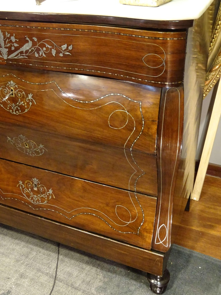 19th Century Dark Wood and Silver Inlaid Spanish Chest of Drawers, circa 1830 For Sale 7