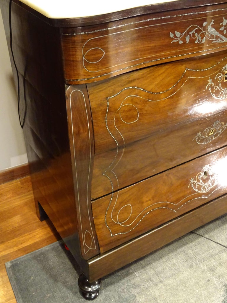 19th Century Dark Wood and Silver Inlaid Spanish Chest of Drawers, circa 1830 For Sale 10