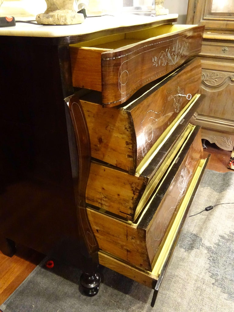 19th Century Dark Wood and Silver Inlaid Spanish Chest of Drawers, circa 1830 For Sale 2