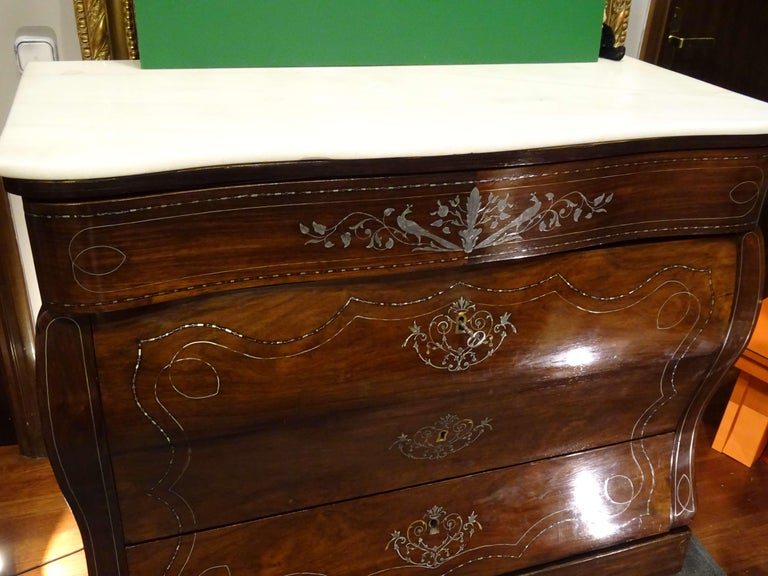 19th Century Dark Wood and Silver Inlaid Spanish Chest of Drawers, circa 1830 For Sale 3