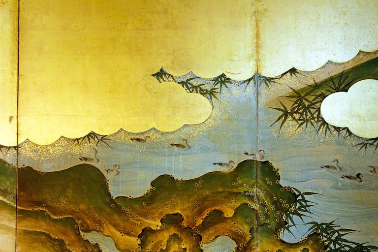 Painted 19th Century Edo Landscape Japanese Six-Panels Folding Screen in Gold Leaf