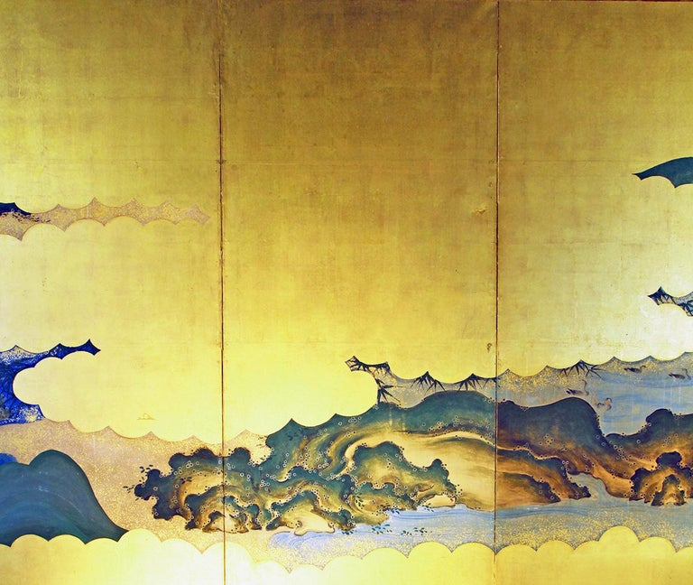 19th Century Edo Landscape Japanese Six-Panels Folding Screen in Gold Leaf In Good Condition In Brescia, IT