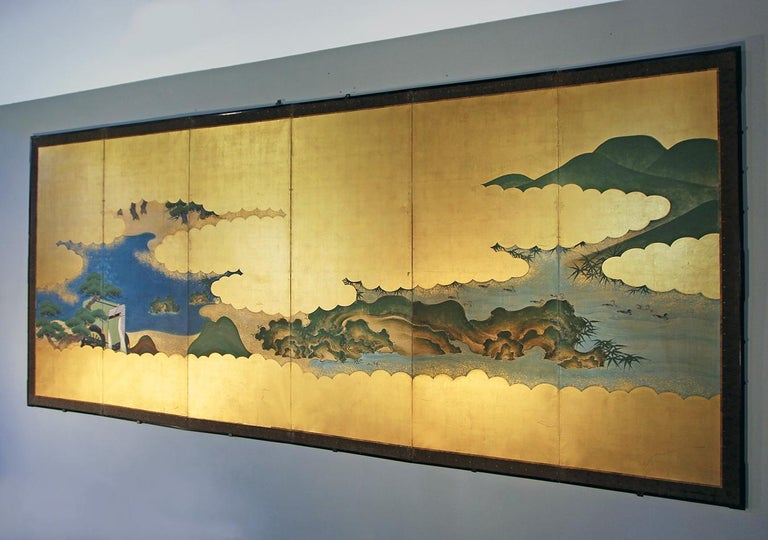 19th Century Edo Landscape Japanese Six-Panels Folding Screen in Gold Leaf 2