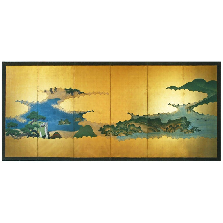 19th Century Edo Landscape Japanese Six-Panels Folding Screen in Gold Leaf