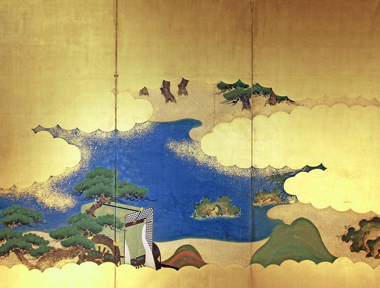 Tosa School. Six-panel Japanese screen from the last Edo period, painted with mineral pigments on gold leaf and rice paper.