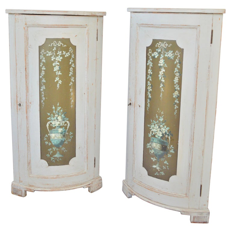 19th Century Flower Decorated Corner Cabinets For Sale