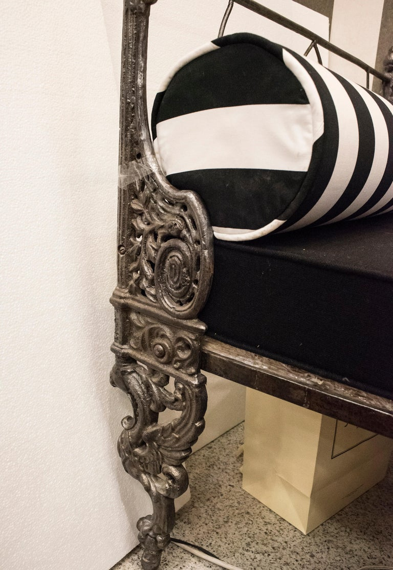19th Century Napoleon III French Black Cast Iron Daybed For Sale 12