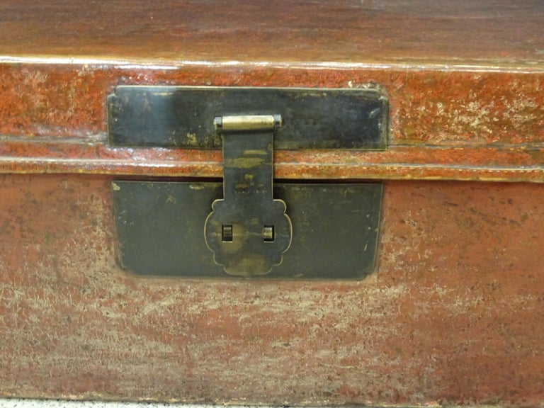 Qing Late 19th Century Red Lacquer Chinese Storage Chest For Sale