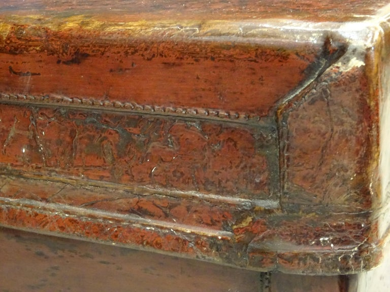 Late 19th Century Red Lacquer Chinese Storage Chest For Sale 3