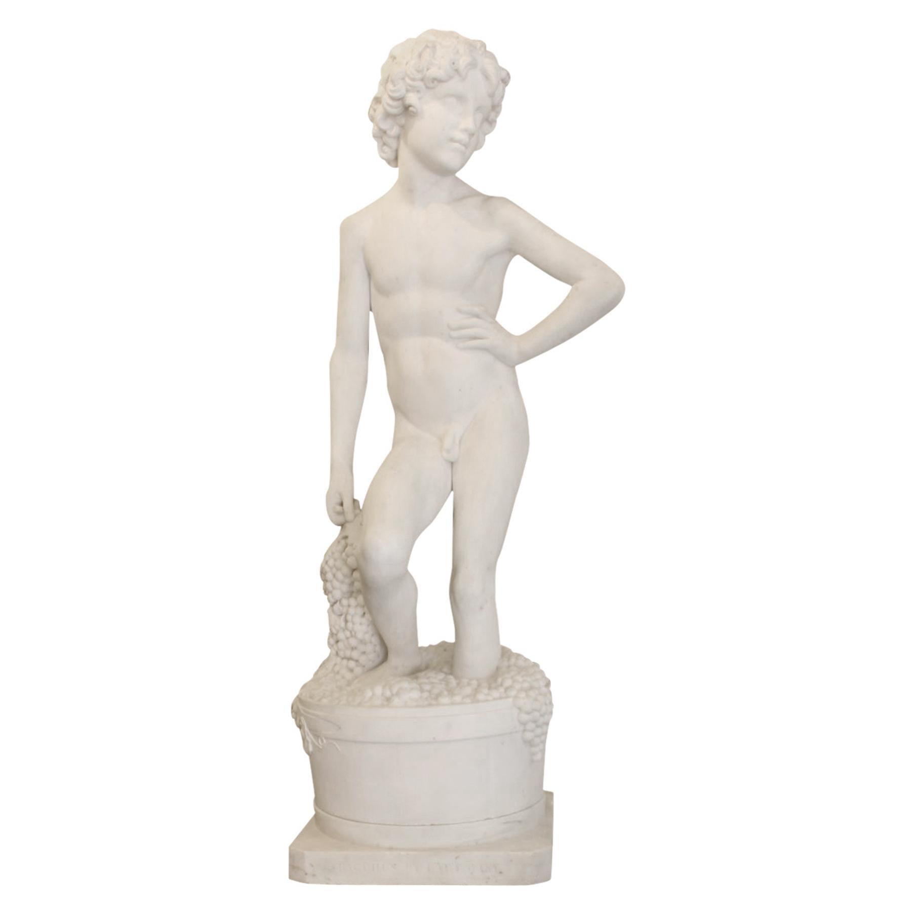 19th Century White Carrara Marble Sculpture by Pietro Bazzanti