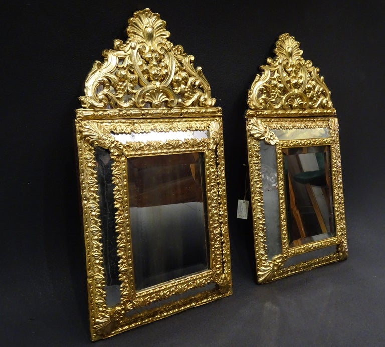 Baroque 19th Dutch Pair of Mirrors in Gilt Metal with Fine Gold on Wood For Sale
