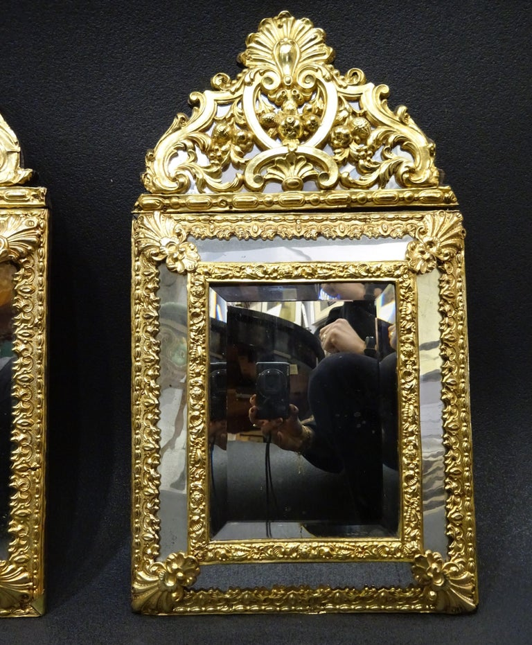Brass 19th Dutch Pair of Mirrors in Gilt Metal with Fine Gold on Wood For Sale