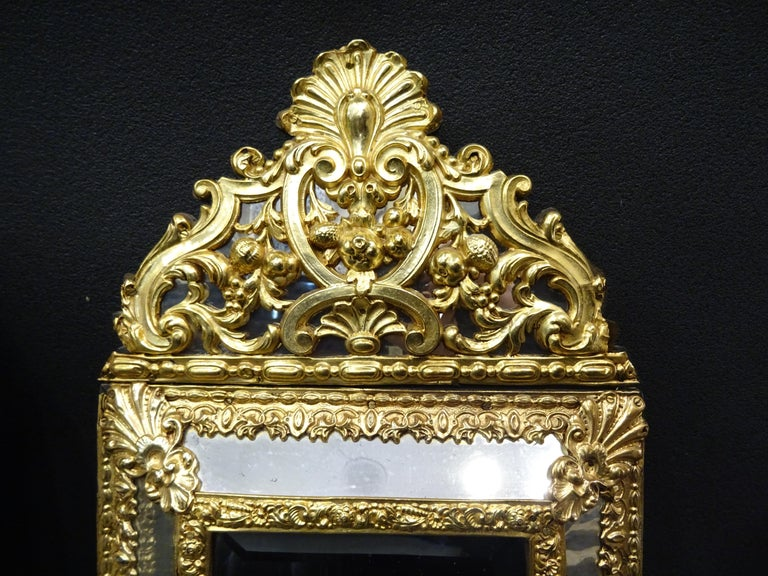19th Dutch Pair of Mirrors in Gilt Metal with Fine Gold on Wood For Sale 2