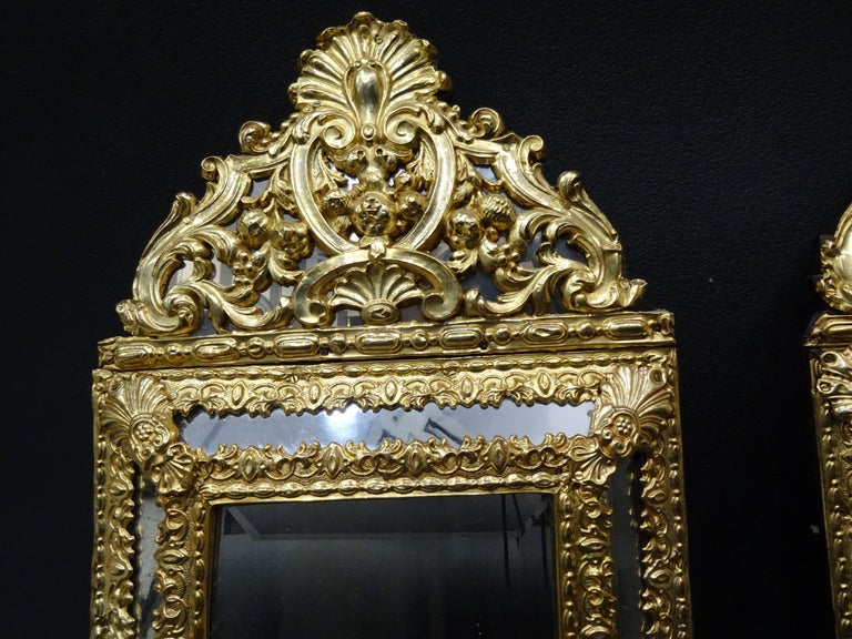 19th Dutch Pair of Mirrors in Gilt Metal with Fine Gold on Wood For Sale 3