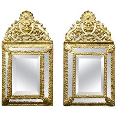 19th Dutch Pair of Mirrors in Gilt Metal with Fine Gold on Wood