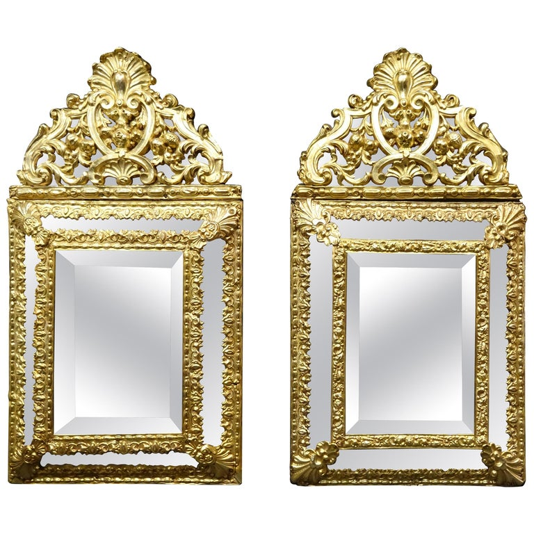 19th Dutch Pair of Mirrors in Gilt Metal with Fine Gold on Wood For Sale