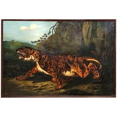 19th Century French Large Painting, Leopard, Oil on Canvas, Signed