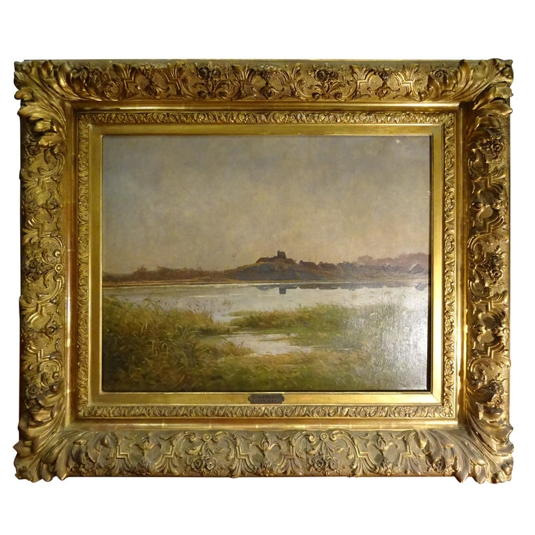 """L.Boulanger French Oil on Canvas, """"Landscape"""", Romantic French School For Sale"""