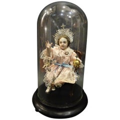St Child Jesus of Puncan Sculpture in a Glass Dome, Silver, Gold, Silk Wood
