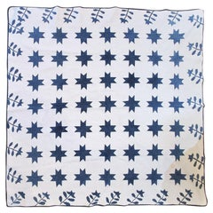19th Century Early Applique and Stars Quilt
