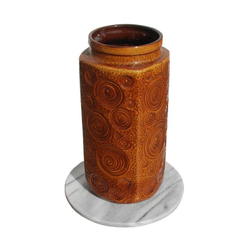 Mid-Century Modern West German Amber Floor Vase by Scheurich Pottery, 1960s For Sale