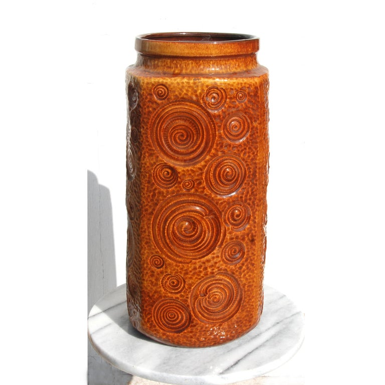 Hand-Crafted West German Amber Floor Vase by Scheurich Pottery, 1960s For Sale
