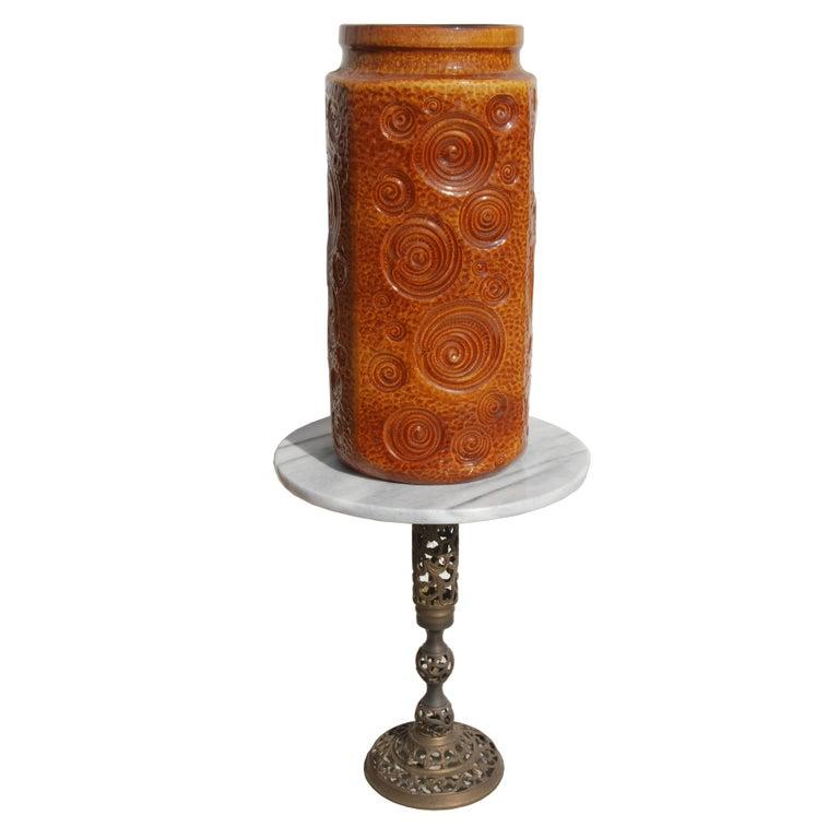 West German Amber Floor Vase by Scheurich Pottery, 1960s In Good Condition For Sale In Pasadena, TX