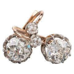 1.90 Carat Antique French Diamonds Earrings