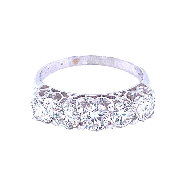 1.90 Carat Diamond Five-Stone Gold Ring For Sale