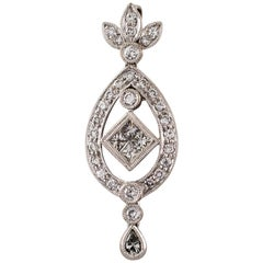 1.90 Carat Diamond Floral 18 Karat White Gold Drop Pendant