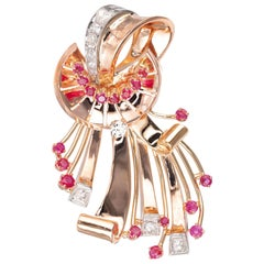 1.90 Carat Diamond Ruby Rose Gold Swirl Brooch