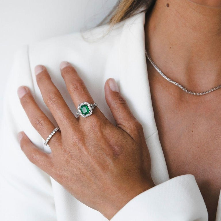 2.53 Carat Emerald & Diamond Ring in 14 Karat White Gold - Shlomit Rogel  Beautifully rare - this beautiful emerald & diamonds ring is one of a kind. Amazing 1.90 CARAT emerald gemstone, round shaped, pear shaped and marquise shaped diamonds and 2