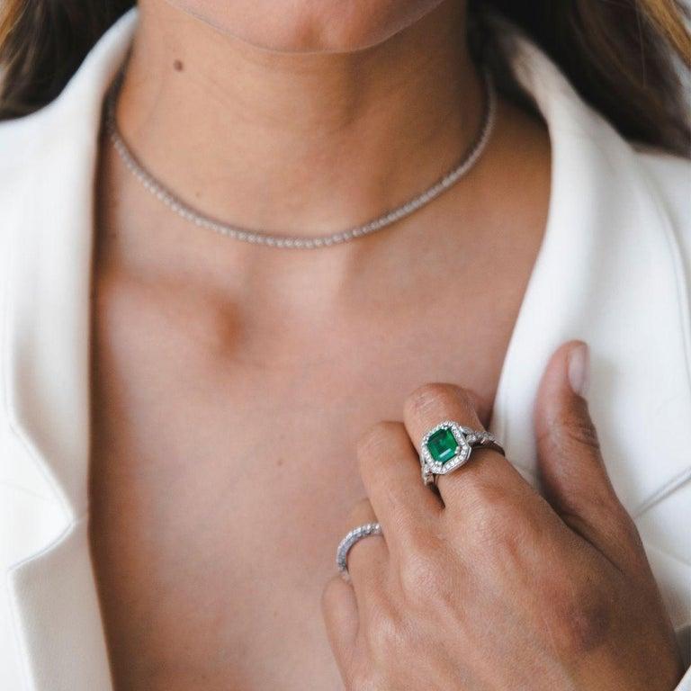 Art Deco 2.53 Carat Emerald & Diamond Ring in 14 Karat White Gold - Shlomit Rogel