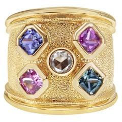 1.90 Carat Mix Color Princess Cut No Heat Sapphire & Diamond 18K Gold RIng