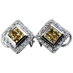 1.90 Carat Natural Canary Yellow Sapphire Diamond Clip Earrings 18 Karat Omega