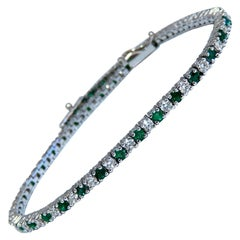 1.90 Carat Natural Emerald Diamond Alternated Tennis Bracelet 14 Karat Gold