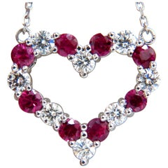 1.90 Carat Natural Ruby Diamond Open Heart Necklace 14 Karat