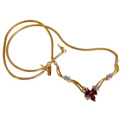 1.90 Carat Natural Ruby Diamonds Lariat Necklace 14 Karat