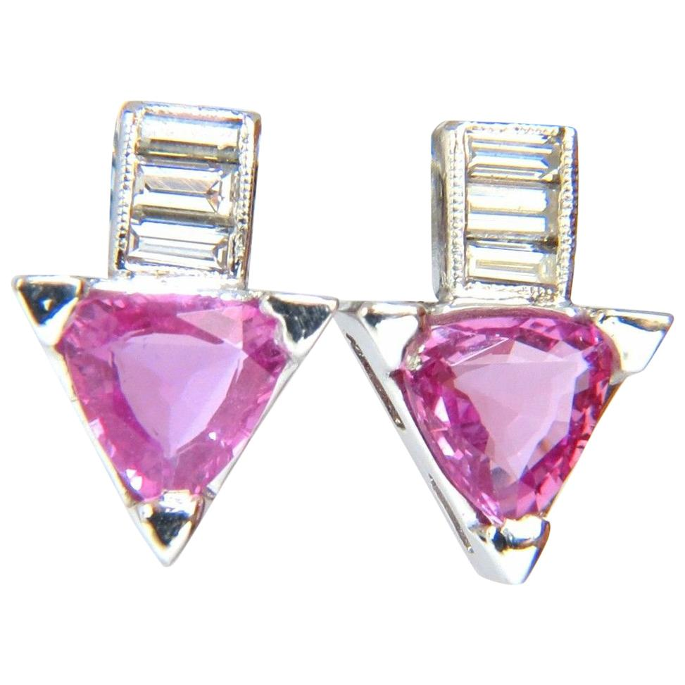 1.90 Carat Natural Vivid Pink Trilliant Sapphire Diamonds Stud Earrings 14 Karat