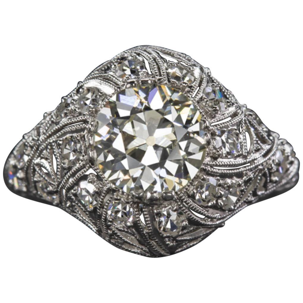 Art Deco 2 Carat Old Cut Diamond Platinum Ring