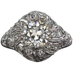 1.90 Carat Old Cut Diamond Engagement Platinum Art Deco Ring