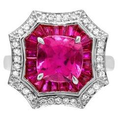 1.90 Carat Pink Tourmaline, Ruby and Diamond 14 Karat White Gold Cocktail Ring