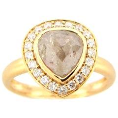 1.90 Carat Rose Cut Pear Gray White Diamond Ring