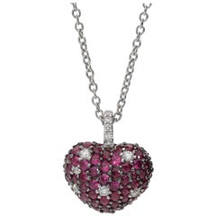 1.90 Carat Rubies 0.27 White GVS Diamond 18kt White Gold Romantic Heart Necklace