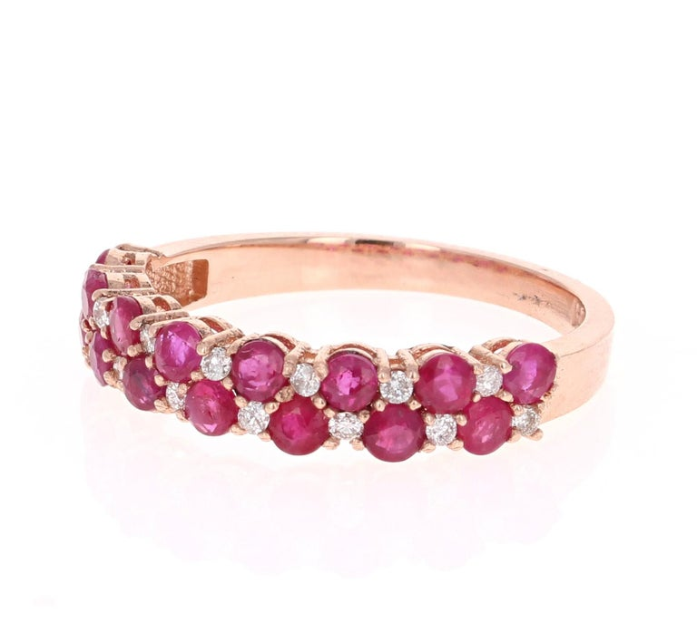 Modern 1.90 Carat Diamond Ruby Rose Gold Stackable Bands For Sale